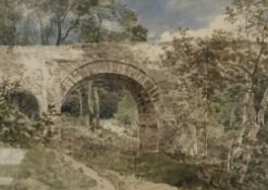 Frederick Richard Lee R.A. (1798-1879), watercolour, Holne Bridge, Devon, signed in pencil, 26 x