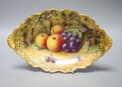 A Royal Worcester fruit painted dessert dish, signed Lockyer, length 31cm