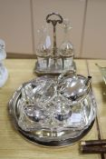 A Christofle Art Deco plated three-piece teaset and tray (pot handle a.f.) and sundry plated
