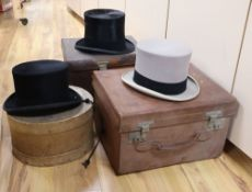 Two Victorian Locke & Co silk top hats and two felt top hats