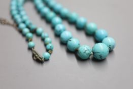 A continental graduated turquoise bead necklace, with marcasite and cultured pearl set white metal