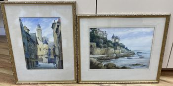 Billy Blamire, two watercolours, Scottish coastal landscape and Street scene, 28 x 39cm and 34 x