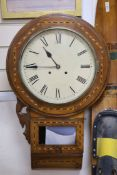 A Victorian inlaid walnut drop dial wall clock, with white enamelled Roman dial, length 75cm