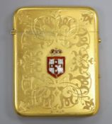 A gilt metal card case, with enamelled armorial badge, 10c,