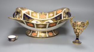 A Royal Crown Derby dish, a vase and a cup, tallest 30cm (all a.f.)