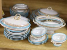 A Royal Worcester Vitreous pattern pale blue and gilt edged part dinner service including
