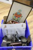 A quantity of mixed collectables including a pair of Chinese watercolours of seated dignitaries,