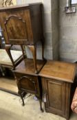 A late Victorian walnut bedside cabinet, width 40cm depth 36cm height 73cm, together with a pair