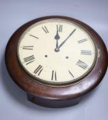 A Victorian mahogany circular wall clock