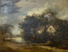 Norwich School, oil on canvas, Landscape with figures passing a cottage, 34 x 44cm