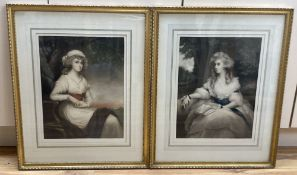 A pair of early 20th century coloured mezzotint portraits of 18th century ladies, 45 x 33cm