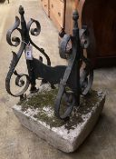 A Victorian cast iron boot scraper, width 30cm, height 42cm