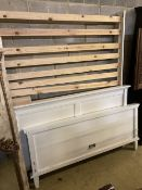 A contemporary white painted five foot bedframe, headboard height 102cm