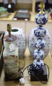 Two Chinese porcelain lamps and a pair of vases, tallest 58cm