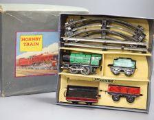 A boxed Hornby MO Goods tinplate train set, post war