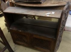 A Victorian carved oak wall cabinet, width 90cm, depth 23cm, height 80cm