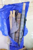 Various lengths of dress fabric including Scottish tartan
