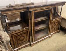 A late Victorian figured walnut breakfront side cabinet, width 168cm depth 43cm height 104cm