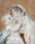 19th century English School, oil on ivory, Miniature portrait of a mother and child, 8.5 x 6.5cm,