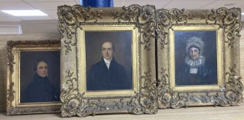 Early 19th century English School, pair of oils on mill board, Portraits of Walter and Sarah