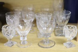 Fifteen various glass rummers and drinking glasses