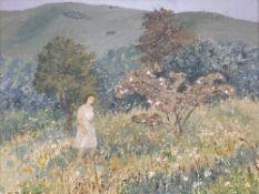 Trekkie Ritchie (1902-), oil on board, Grassy hillside evening, signed, 29 x 39cm