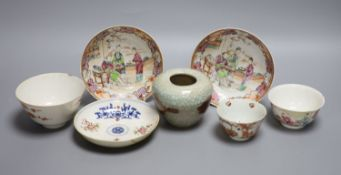 A pair of Chinese famille rose saucers, another saucer, three various tea bowls and a crackleglaze