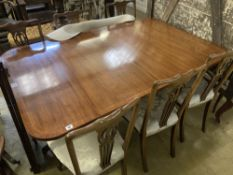 A Regency style mahogany two pillar extending dining table, length 240cm extended (two spare