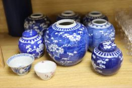 Seven Chinese blue and white jars and two Chinese tea bowls, largest 17cm