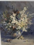 Hubay Maria, watercolour, Still life of flowers in a jug, signed and dated 1913, 54 x 39cm,