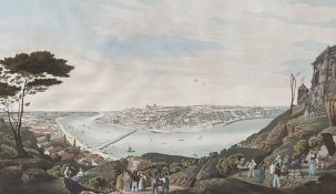 Pavel after Captain C. Van Zelle, coloured aquatint, View of the City of Oporto 1833, 49 x 70cm