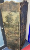 A 19th century Spanish four leaf draught screen, painted with a village scene with numerous figures,