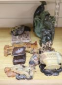A collection of hardstone and soapstone carvings