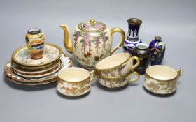 A group of Japanese cloisonne and satsuma wares