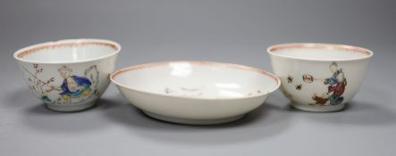 An 18th century Chinese tea bowl and saucer, and a similar tea bowl, height 4cm
