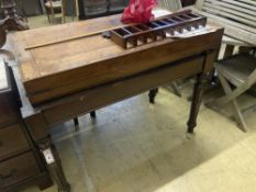 An early Victorian mahogany bagatelle table, width 120cm, depth 64cm, height 90cm