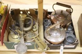 Miscellaneous metalware, including two Eastern copper kettles, pewter measures, chestnut roaster