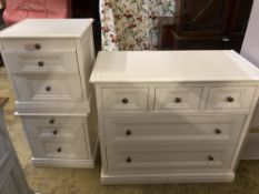 A contemporary white five drawer chest, together with a pair of matching three drawer bedside
