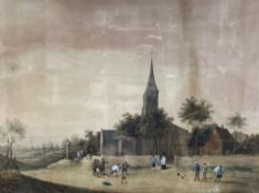 Lady Elizabeth Browne Cody, after Teniers, watercolour, Figures playing bowles before a church,