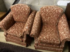 A pair of contemporary upholstered armchairs, width 96cm depth 100cm height 96cm
