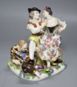 A Meissen porcelain group, The Indiscreet Harlequin, 19th century, height 16cm (a.f.)