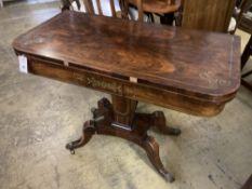 A Regency brass inlaid rosewood folding card table, width 91cm, depth 45cm, height 74cm