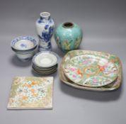 A quantity of Chinese ceramics Qing, tallest 17cm
