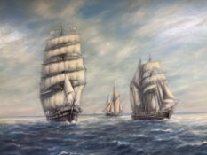 Max Parsons A.R.C.A. (1915-1998), Sailing clipper and other vessels at sea, oil on board,