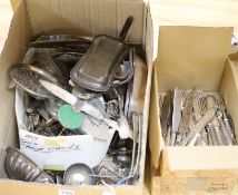 A quantity of silver and plated ware including cutlery