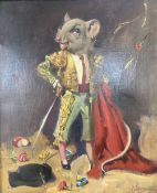 § Terence Cuneo (1907-1996), oil on canvas, Bullfighter mouse, signed and dated Sept.1957, 29 x
