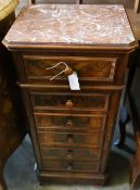 A 19th century French faux fronted marble top cabinet, width 42cm depth 34cm height 91cm