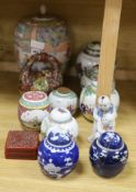 A Chinese vase, six Chinese jars and covers, a box as a basket, a jar and figure, tallest 30cm (11)