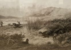 Archibald Thorburn, lithograph, Partridge and beaters, signed in pencil, overall 44 x 55cm