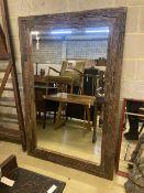 A large rectangular reclaimed wood wall mirror, width 122cm, depth 184cm